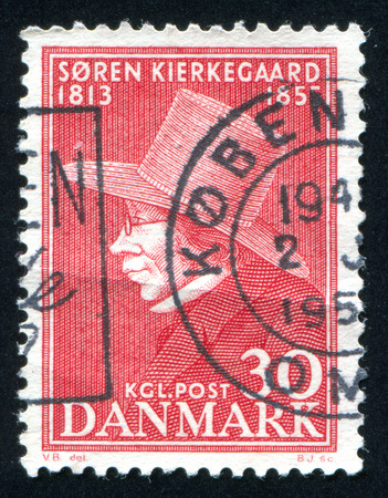 theologian: DENMARK - CIRCA 1955: stamp printed by Denmark, shows Soren Kierkegaard, philosopher and theologian, circa 1955