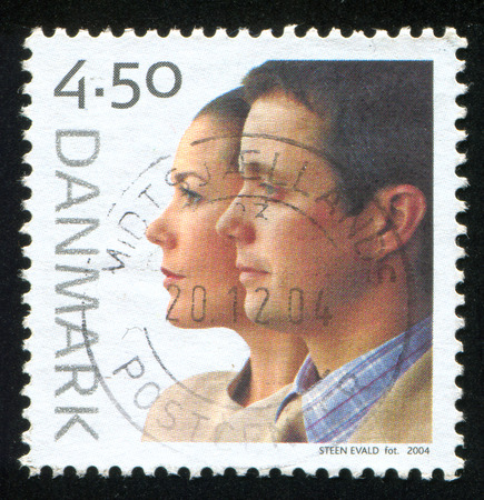 prince of denmark: DENMARK - CIRCA 2004: stamp printed by Denmark, shows Wedding of Crown Prince Frederik and Mary Donaldson, circa 2004 Editorial