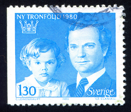 Sweden - CIRCA 1980: stamp printed by Sweden, shows Crown Princess Victoria and King Carl XVI Gustaf, circa 1980