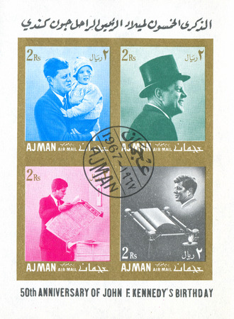 AJMAN - CIRCA 1967: stamp printed by Ajman, shows John Fitzgerald Kennedy was President of the United States, circa 1967.