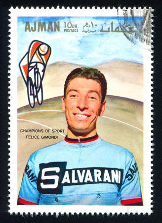 felice: AJMAN - CIRCA 1969: stamp printed by Ajman, shows Felice Gimondi, circa 1969 Editorial
