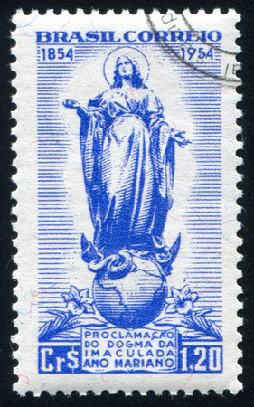 BRAZIL - CIRCA 1954: stamp printed by Brazil, shows  globe and Maria, circa 1954