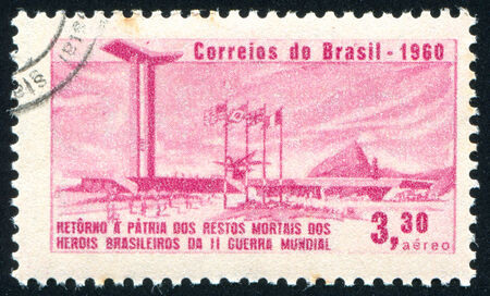 allied: BRAZIL - CIRCA 1960: stamp printed by Brazil, shows  War Memorial, Sugarloaf Mountain and Allied Flags, circa 1960