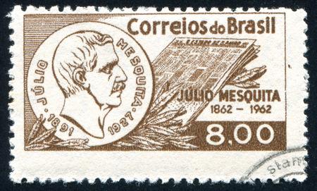 BRAZIL - CIRCA 1962: stamp printed by Brazil, shows  Julio Mesquita, circa 1962 Imagens - 33857592