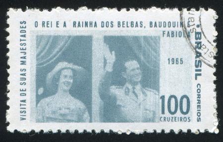 baudouin: BRAZIL - CIRCA 1965: stamp printed by Brazil, shows  King Baudouin and Queen Fabiola of Belgium, circa 1965 Editorial