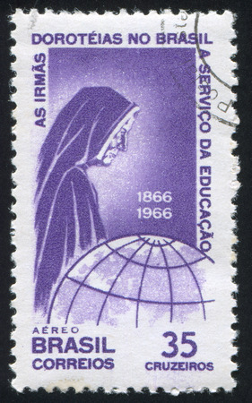 BRAZIL - CIRCA 1966: stamp printed by Brazil, shows  Nun and Globe, circa 1966