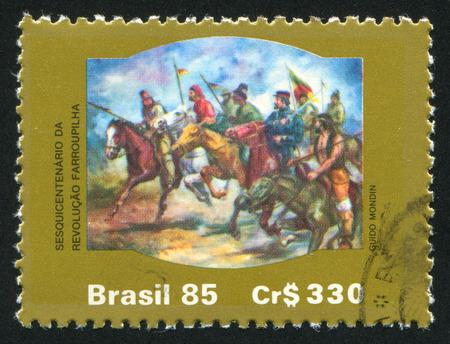 insurrection: BRAZIL - CIRCA 1985: stamp printed by Brazil, shows  Farrouphilha Insurrection, circa 1985 Editorial