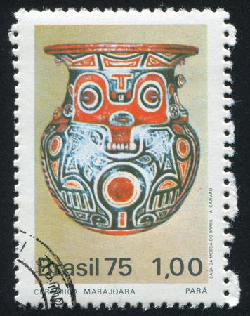 BRAZIL - CIRCA 1975: stamp printed by Brazil, shows  Marjoara Vase, circa 1975