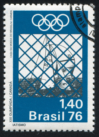 yachting: BRAZIL - CIRCA 1976: stamp printed by Brazil, shows  yachting, circa 1976