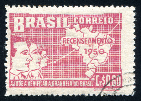 population growth: BRAZIL - CIRCA 1950: stamp printed by Brazil, shows  Symbolical of Brazilian Population Growth, circa 1950 Editorial