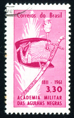 sabre: BRAZIL - CIRCA 1961: stamp printed by Brazil, shows  shako and sabre, circa 1961 Editorial