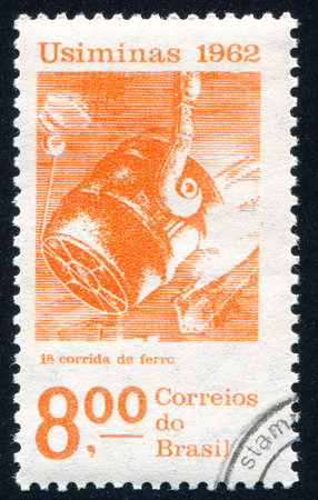 ferrous foundry: BRAZIL - CIRCA 1962: stamp printed by Brazil, shows  Pouring Ladle, circa 1962