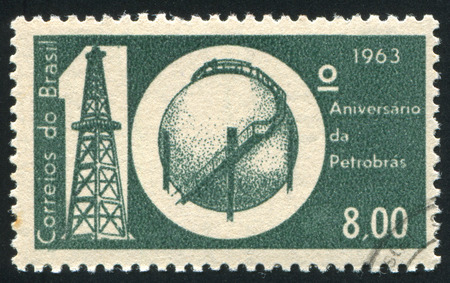 BRAZIL - CIRCA 1963: stamp printed by Brazil, shows  Oil Derrick and Storage Tank, circa 1963