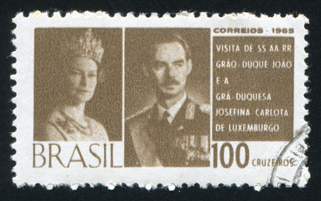 BRAZIL - CIRCA 1965: stamp printed by Brazil, shows  Grand Duke and Duchess of Luxembourg, circa 1965