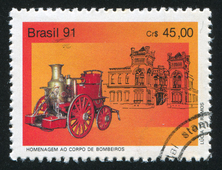 pumper: BRAZIL - CIRCA 1991: stamp printed by Brazil, shows  Fire Pumper, circa 1991 Editorial