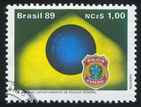 federal police: BRAZIL - CIRCA 1989: stamp printed by Brazil, shows  Federal Police Department, circa 1989