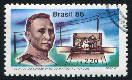 BRAZIL - CIRCA 1985: stamp printed by Brazil, shows  Marshal Rondon, circa 1985