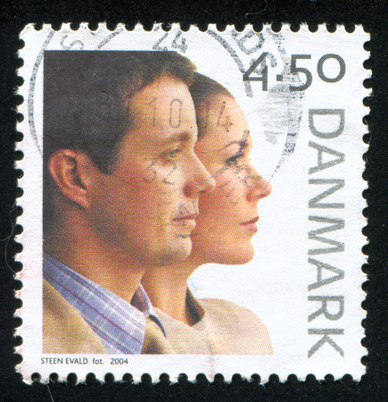 DENMARK - CIRCA 2004: stamp printed by Denmark, shows Wedding of Crown Prince Frederik and Mary Donaldson, circa 2004 Editorial