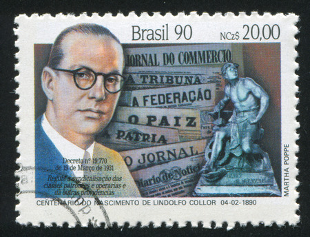 syndicated: BRAZIL - CIRCA 1990: stamp printed by Brazil, shows  Lindolfo Collor, Syndicated Columnist, and Labor Monument, circa 1990