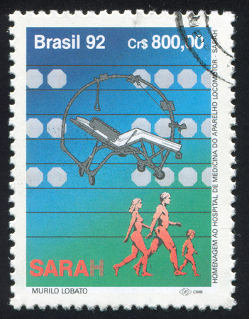 orthop�die: BR�SIL - CIRCA 1992: timbre, imprim� par le Br�sil, montre H�pital de m�decine et Orthop�die, circa 1992