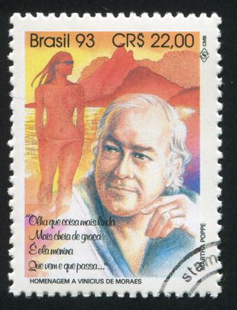 brazil beach swimsuit: BRAZIL - CIRCA 1993: stamp printed by Brazil, shows  Vinicius de Moraes, circa 1993