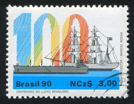 brig ship: BRAZIL - CIRCA 1990: stamp printed by Brazil, shows  ancient and modern ships, circa 1990 Editorial