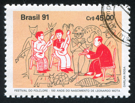 mot: BRAZIL - CIRCA 1991: stamp printed by Brazil, shows  Leonardo Mota, circa 1991 Editorial