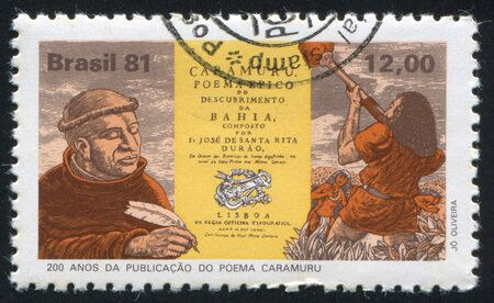 poem: BRAZIL - CIRCA 1981: stamp printed by Brazil, shows  Father Jose de Santa Rita Durao, Titlepage of his Epic Poem Caramuru, Diego Alvares Correia, circa 1981