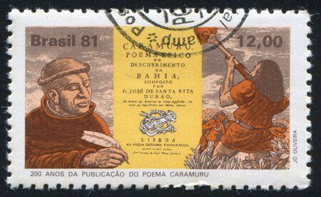 poem: BRAZIL - CIRCA 1981: stamp printed by Brazil, shows  Father Jose de Santa Rita Durao, Titlepage of his Epic Poem Caramuru, Diego Alvares Correia, circa 1981