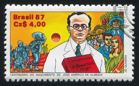 jose: BRAZIL - CIRCA 1987: stamp printed by Brazil, shows  Jose Americo de Almeida, Author, circa 1987