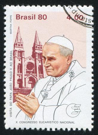 pontiff: BRAZIL - CIRCA 1980: stamp printed by Brazil, shows  Pope John Paul II, circa 1980