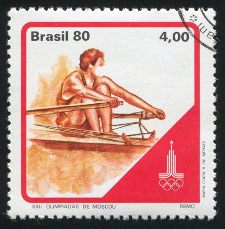 olympiad: BRAZIL - CIRCA 1980: stamp printed by Brazil, shows  Moscow Olympiad Rowing, circa 1980 Editorial