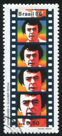 rocha: BRAZIL - CIRCA 1986: stamp printed by Brazil, shows  Glauber Rocha Film Industry Pioneern, circa 1986