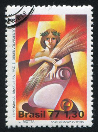 BRAZIL - CIRCA 1977: stamp printed by Brazil, shows  Woman Holding Sheaf, circa 1977