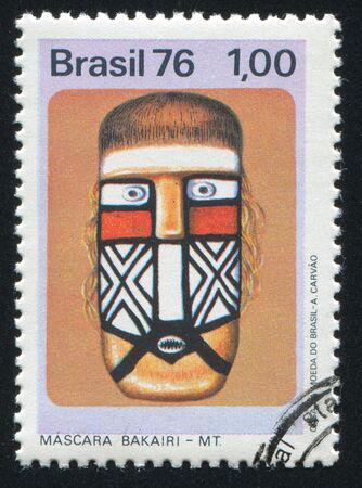 ceremonial: BRAZIL - CIRCA 1976: stamp printed by Brazil, shows  Bakairi ceremonial mask, circa 1976