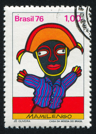 sock puppet: BRAZIL - CIRCA 1976: stamp printed by Brazil, shows  puppet show, circa 1976 Editorial