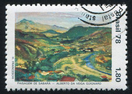 alberto: BRASIL - CIRCA 1978: sello impreso por Brasil, muestra Vista de Sabara por Alberto da Veiga Guignard, alrededor de 1978 Editorial