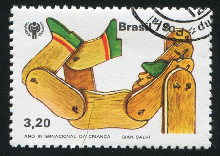 sock puppet: BRAZIL - CIRCA 1979: stamp printed by Brazil, shows  marionetten, circa 1979 Editorial