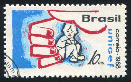 child protection: BRAZIL - CIRCA 1968: stamp printed by Brazil, shows  Child Protection, circa 1968