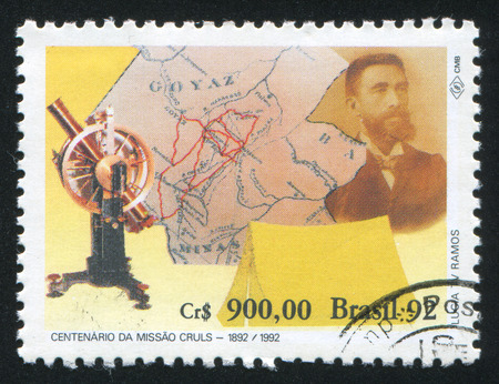 expedition: BRAZIL - CIRCA 1992: stamp printed by Brazil, shows  Expedition of Luis Cruls, circa 1992