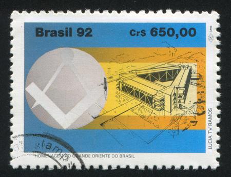masonic: BRAZIL - CIRCA 1992: stamp printed by Brazil, shows  Masonic Square Compass and Lodge, circa 1992