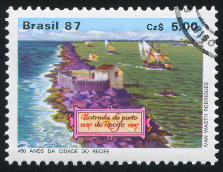 brig ship: BRAZIL - CIRCA 1987: stamp printed by Brazil, shows  Spanish Galleons Anchored in Recife Port, circa 1987
