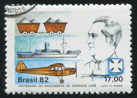 industrialist: BRAZIL - CIRCA 1982: stamp printed by Brazil, shows  Birth Centenary of Henrique Lage, Industrialist, circa 1982