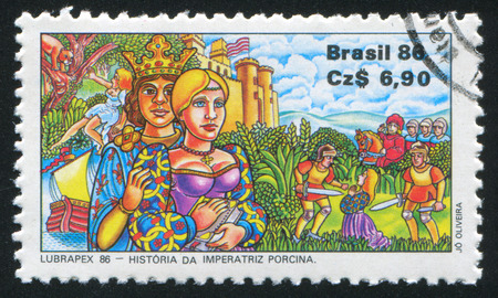 hauberk: BRAZIL - CIRCA 1986: stamp printed by Brazil, shows  History of the Empress Porcina, circa 1986
