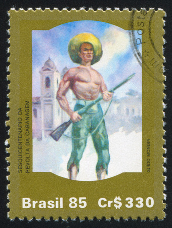 insurrection: BRAZIL - CIRCA 1985: stamp printed by Brazil, shows  Cabanagem Insurrection, circa 1985 Editorial
