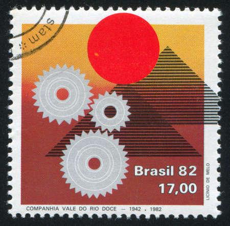 vale: BRAZIL - CIRCA 1982: stamp printed by Brazil, shows  Vale de Rio Doce Mining, circa 1982