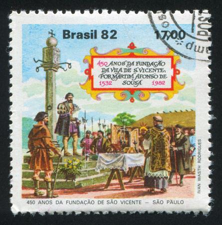 charter: BRAZIL - CIRCA 1982: stamp printed by Brazil, shows  Martin Afonso de Souza Reading Charter to Settlers, circa 1982 Editorial