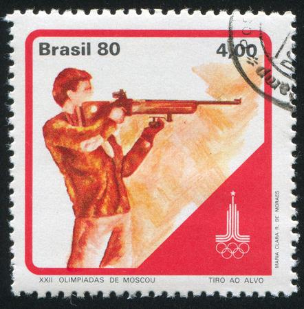 olympiad: BRAZIL - CIRCA 1980: stamp printed by Brazil, shows  Target shooting, circa 1980 Editorial
