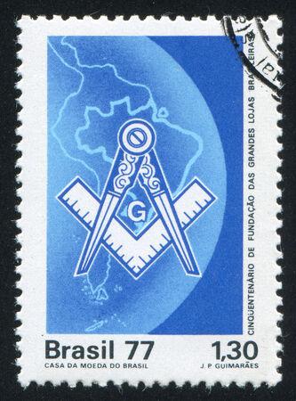 masonic: BRAZIL - CIRCA 1977: stamp printed by Brazil, shows  Masonic Emblem Map of Brazil, circa 1977