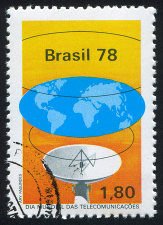 uniting: BRAZIL - CIRCA 1978: stamp printed by Brazil, shows  Waves from Antenna Uniting World, circa 1978